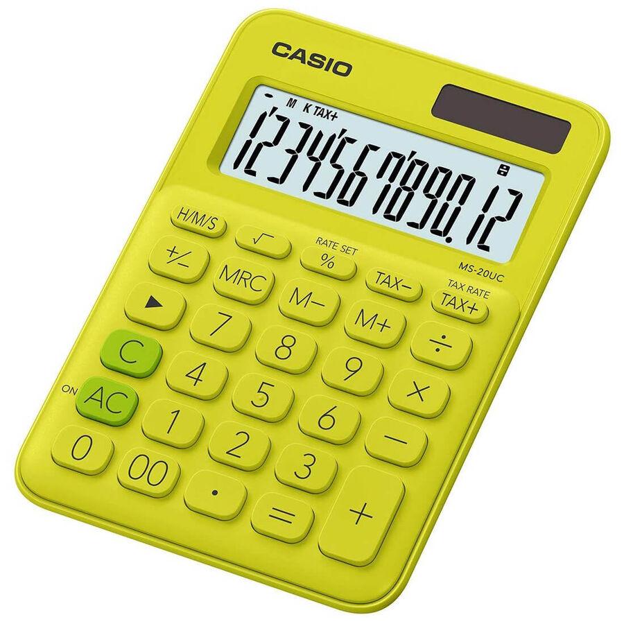 CASIO - Casio MS-20UC-YG 12 Basamak Güneş Enerjili Fıstık Yeşili Hesap Makinesi