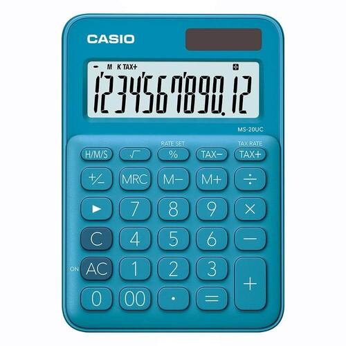 Casio MS-20UC-BU 12 Basamak Güneş Enerjili Mavi Hesap Makinesi - Thumbnail