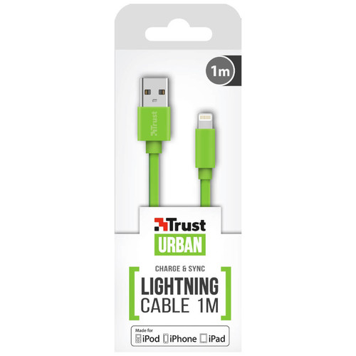Trust 20130 Yeşil Lightning Şarj Kablosu - 1 metre - Thumbnail
