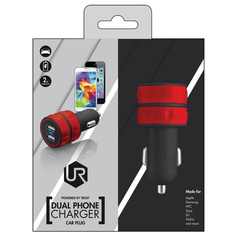 TRUST - Trust 20157 Kırmızı Araç Tipi İkili USB Şarj Cihazı