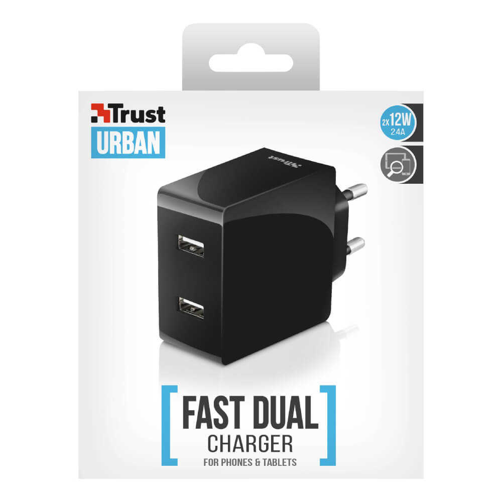 Trust 21712 Siyah Duvar Tipi İkili USB Şarj Cihazı