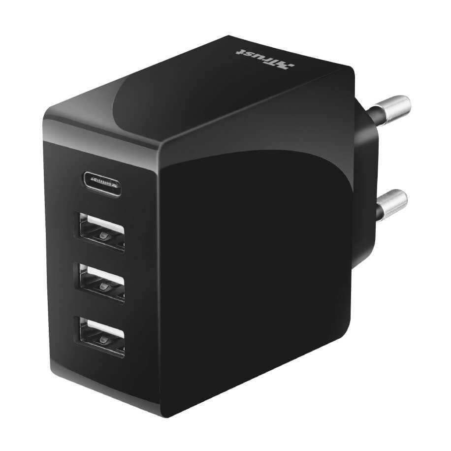 Trust 22029 USB-C ve USB-A Portuna 24W 4 Port Duvar Tipi Şarj Cihazı